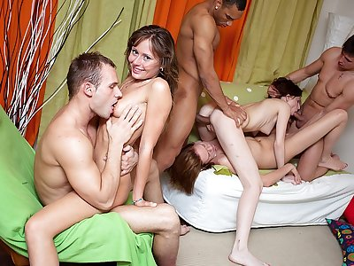 Amazing college girl inhale jobs and gang porking
