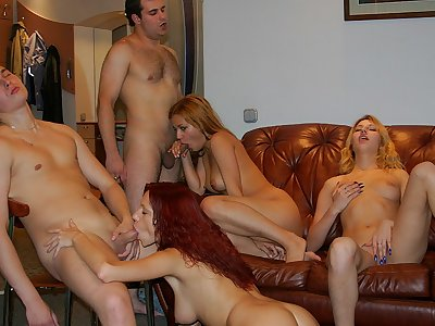 Playful pretty soiree femmes tempt ultra-kinky dudes